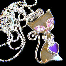 w Swarovski Crystal Purple KITTY CAT Kitten Heart charm Pendant Necklace Jewelry