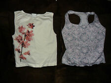 Danskin Freestyle M Seamless White Orchid Print & S Pink/Gray Tank Racerback