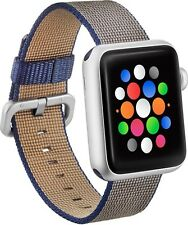 NEW Modal Apple Watch 42mm Woven Nylon Band Strap Navy Blue Tan Accessory