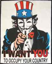 Large Back UNCLE SAM V - Occupy Your Country! - Printed Patch - Sew On