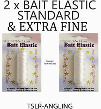 2 x ROLLS QUALITY BAIT ELASTIC STANDARD AND EXTRA FINE - SEA PIKE FISHING TACKLE