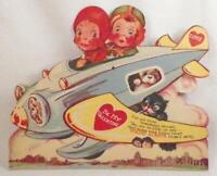 Vintage Be My Valentine Card WWII Airplane Boy Girl Mechanical Large 1940s #25