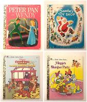 4pc Disney Little Golden Book - Peter Pan Santa Toy Shop Minnie Mouse Vintage