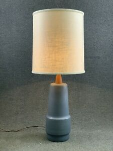 Mid Century Modern Jane Gordon Martz Marshall Studios Blue Pottery & Walnt Lamp