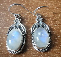 Blue Moonstone with Rope Style Accents 925 Sterling Silver Dangle Oval Earrings