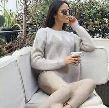 Zara Beige Geometric Mohair Jacquard Sweater Knitted Jumper M