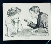 Charles Dana Gibson Signed Original 1903 Antique Art Print 15.5x12 Man Woman