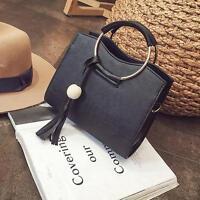 Women Girls Fashion PU Leather Handbag Tassel  Shoulder Bag Crossbody Tote MA