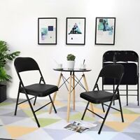 4Pcs Home Backrest Folding Chairs Casual Office Training Chairs With Metal Frame