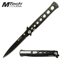 "MTech 5"" Black Stainless Stiletto Manual Folding Folder Pocket EDC Knife MT-317"