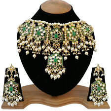 White Pearls Sparkling Touch Meena Kudan Gold Plated Party Jewelry Necklace Sets
