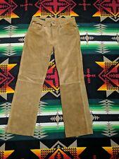 Mens Leather 5 Pocket Pants Banana Republic Tan Brown Suede 34x32