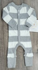 Baby Girl Boy Clothes New Burt's Bees Organic Preemie Gray White Striped Outfit