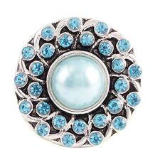 Button Click Druckknopf Perle Kristall Türkis - kompatibel mit Chunk Armband