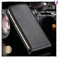 Etui Cuir Véritable housse coque Genuine Leather Flip case Samsung Galaxy S7