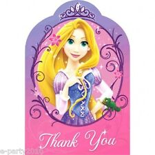 TANGLED SPARKLE THANK YOU NOTES (8) ~ Birthday Party Supplies Disney Pink Cards