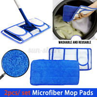 2PCS Reusable Microfiber Mop Pads Washable Dry Wet Cleaning For Hardwood