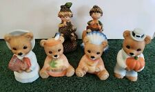 Lot of 4 Thanksgiving Ceramic Bear Figures by Homco. Plus 2 fall acorn babies.