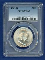 1961 D PCGS MS65 Franklin Half Dollar 50c US Silver Coin 1961-D MS-65 PQ !