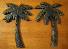 2 Rustic Wood Carved Tropical Island Beach Palm Tree Home Decor Plaque Signs Set