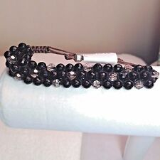 AUTHENTIC Chan Luu FACETED Black STONES & Clear CRYSTALS Pull Tie Bracelet CL31B