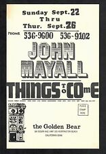 "John Mayall Jr. Wells Hoyt Axton 1968 Golden Bear 5""x8"" Handbill Huntington CA"