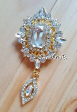 Gold Teardrop Drop Brooch Pin Dangle Rhinestone Clear Diamante Crystal
