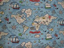 "Sanderson Curtain Fabric Design ""treasure Map"" 75cm X 125 Cm Sea Blue Abracazoo"