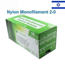 Nylon 2/0 Emergency First Aid Suture Home Wound Treat Trauma 12pcs