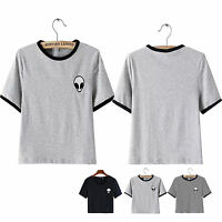 New Embroidery Cartoon Alien Print Blogger Tumblr Tee Top Crop T-Shirt Women