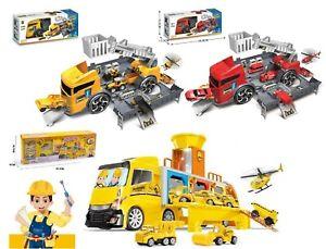Kids Storage Truck & Parking Lot 2in1 Set Engineering Fire W/Excavator 1:24 Gift