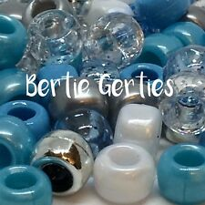 3 for 2 Ice Mix Blue Silver Ivory Glitter Pearl Pony Beads Dummy Clips