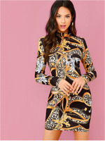 Multicolor Mock Neck Chain Print Bodycon Cocktail Party Dress Sz XS S M L XL