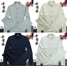Mens Kung Fu Cotton Linen Tang Suit Shirt Pants Costume Martial Arts Taichi Set