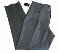 Hart Schaffner Marx Expander Pleated Wool Dress Pants Unhem 46 Gray Chicago NWT