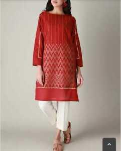 Khaadi Kurta red in solid color kurta stylized new style size 8 -16