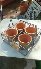"""WIRE BASKET & 4 X CLAY POTS,HERB PLANTER DUAL HANDLED FOR EASY CARRIAGE 9""""X9"""""""