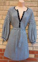 TOPSHOP BLACK WHITE GINGHAM LONG SLEEVE BUTTONED V NECK SMOCK BELTED DRESS 10 S