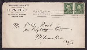 UNITED STATES 1902 DUBUQUE IOWA FURNITURE ADVERTISING COVER to MILWAUKEE WIS