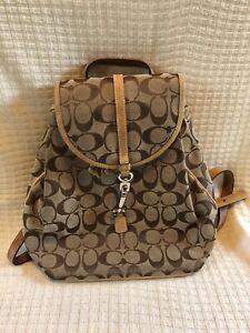 Coach Signature C Khaki Leather Trim Backpack Satchel # H3J-6613