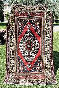Beautiful  Natural Dyes 4'3''x8'Antique 1900-1939s  Wool Pile Tribal Rug Turkey