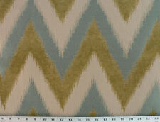 Drapery Upholstery Fabric Chenille Jacquard Chevron Ikat Design - Teal