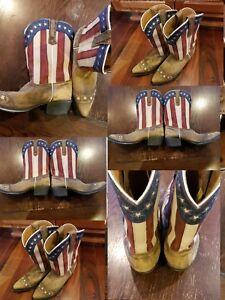 RARE Dan Post Western Boots Cowboy Liberty American Flag Tan DP3166 Youth 6