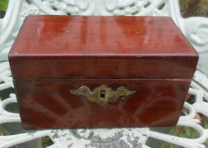 Antique small wooden tea caddy