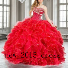 Red Ball Gown Quinceanera Dress Sweet 16 Prom Party Pageant Formal Dress Custom