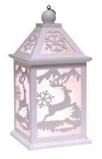 White Christmas LED Lantern with Reindeer Cut Out Design