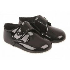 NEW Traditional Smart Baby Boys Black Patent Soft Sole Pram Shoes 0-18 months