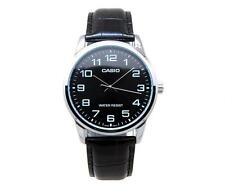 Genuine Casio MTP-V001L-1B Men's Classic Analog Leather Strap Black Dial Watch