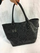 ALDO BLACK LEATHER LACE POCKETBOOK PURSE TOTE BAG SATCHEL CLUTCH LARGE EUC