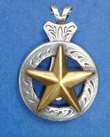 Western Jewelry Antique Silver/Gold Raised Star Concho Pendant Kit